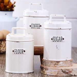 NEW Set of 3 Ceramic Farmhouse Canisters
